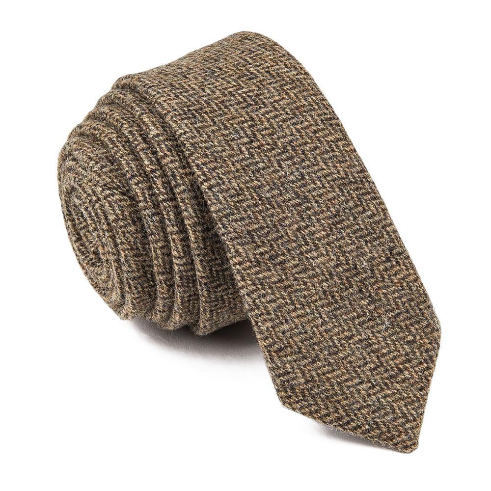 BOTVELA 100% lana espiga de Tweed de los hombres de color caqui de corte Slim corbatas para los hombres boda Casual 017