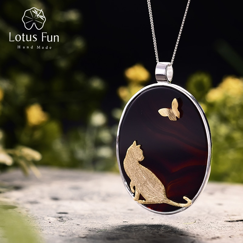 Lotus Fun ágata Natural Plata de Ley 925 auténtica joyería fina hecha a mano colgante de gato y mariposa sin collar para mujer