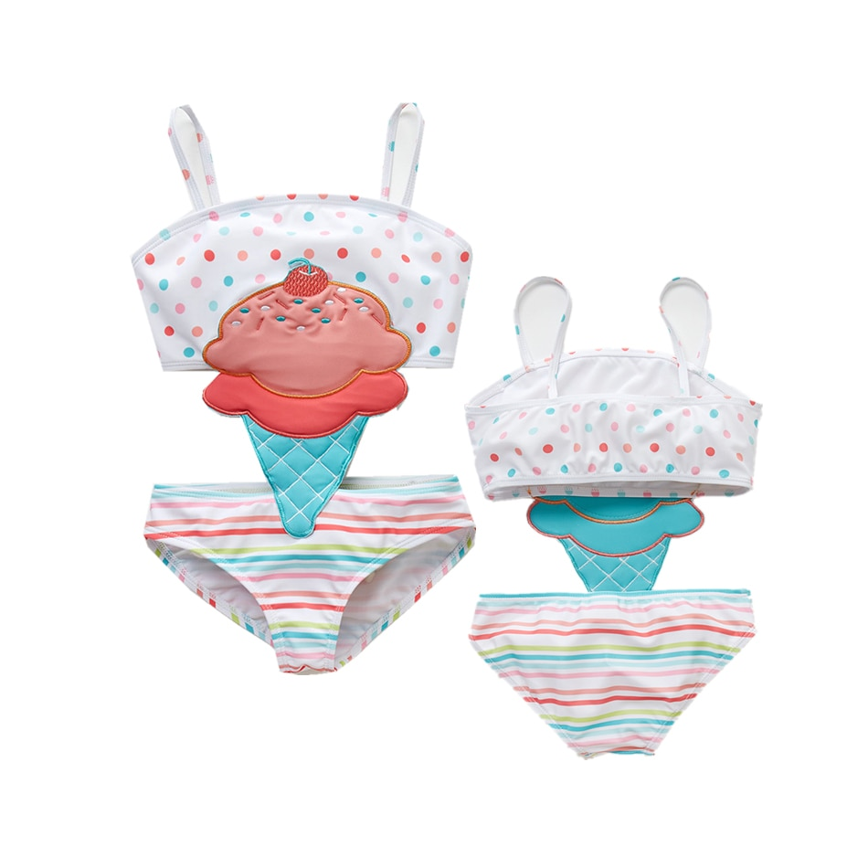 Hot Summer Girl Cute Cartoon Animals Swimwear One Piece 2019 Striped Patchwork Kids Girl Beach Wear Swimsuit 12M-8T Baby Bathing