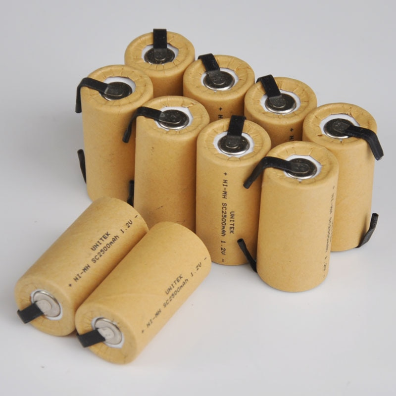 10-16 Uds 1,2 V Ni-Mh SC batería recargable 2500mah Sub C cell con pestañas de soldadura para Makita Bosch Hitachi taladro eléctrico
