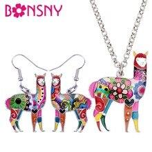 Bonsny collier Bijoux en émail, alliage démail en amérique du sud boucles doreilles en Alpaca, pendentif en chaîne, coffrets de Bijoux danimaux mignons, cadeau Femme