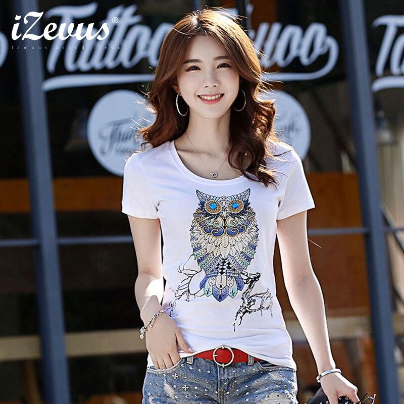 Moda hecha a mano cuentas diamante lentejuelas búho animales mujeres algodón camiseta verano manga corta cuello redondo Casual camisetas delgadas