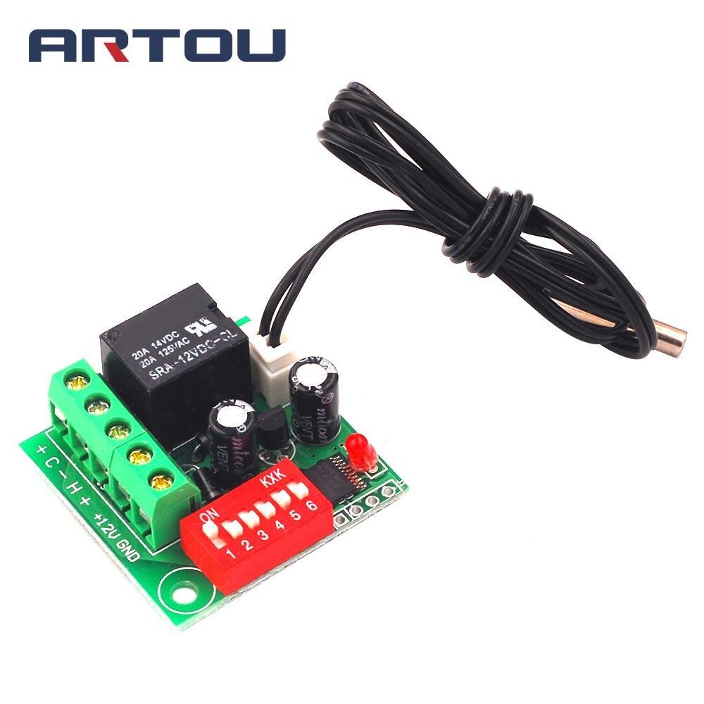 Interruptor de Control de temperatura Digital termostato ajustable interruptor de temperatura 12V controlador de refrigeración W1701