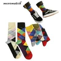 morematch 1pair men vintage ethnic style sock patchwork stripe cotton socks casual happy socks 5 colors optional