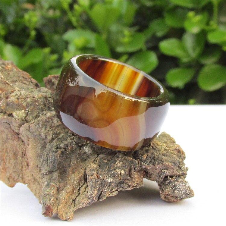 Sardonyx marrón Natural modelos masculinos y femeninos anillo de jade grueso anillo de dedo