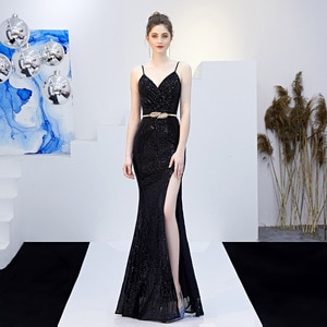 Dress female ladies party party evening dress sequins fishtail dance evening dress slim sexy backless formal evening dress