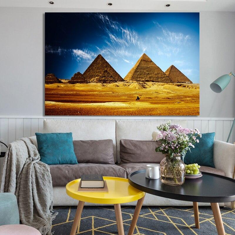 Pósteres e impresiones de paisaje moderno cuadro sobre lienzo para pared pirámide egipcia desierto imágenes de paisaje para decoración para sala de estar