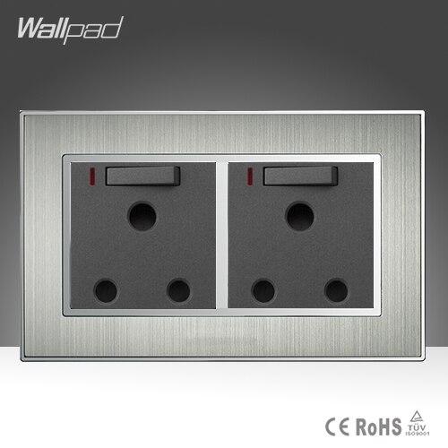 لوحة حائط مزدوجة من الساتان المعدني AC 110-250V ، مقبس حائط مزدوج 15A UK Soutch ، مع LED نيون