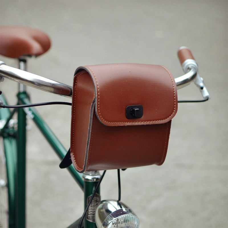 Q1095 Retro ciclismo Vintage Bolsa delantera de bicicleta bolso de manillar avanzado cuero PU material Toolkit Vintage coche pack