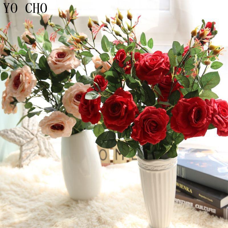 YO CHO Artificial Flowers Rose  Fake 2 Heads Silk Wedding Decoration Home Party Decoration Office Garden Decor Plantas Arrange