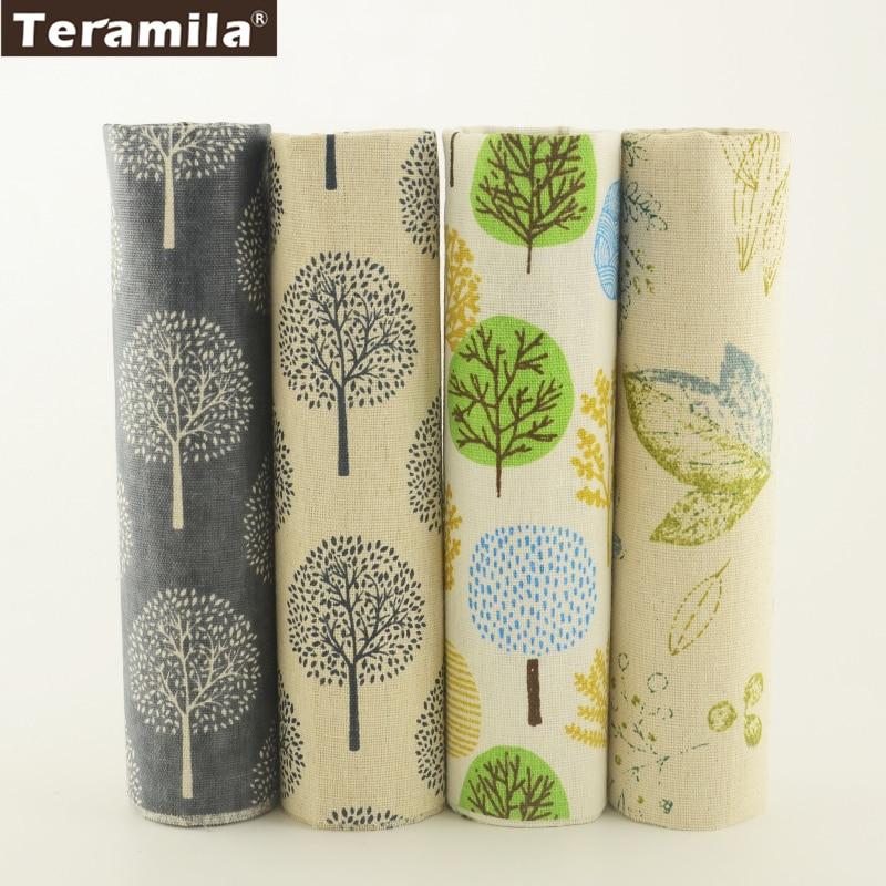 Tecido de Linho de Algodão Teramila 4 Muti-cor Árvores Designs Bundle Patchwork Metros de DIY Para O Saco de Travesseiro Almofada Cortina Toalha de Mesa