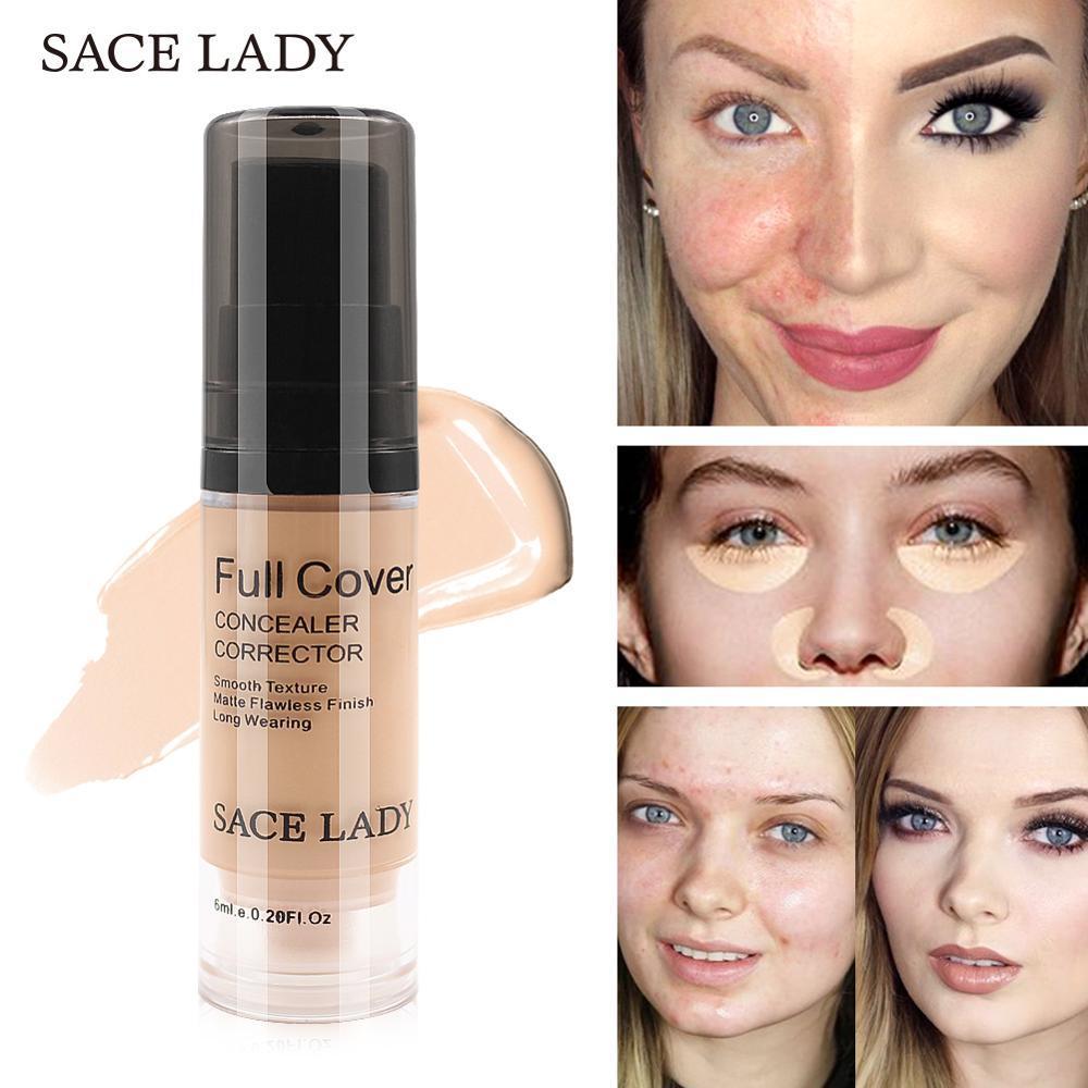 Sace lady foundation capa completa 8 cores corretivo líquido maquiagem 6ml olho círculos escuros creme rosto corrector à prova dwaterproof água cosméticos