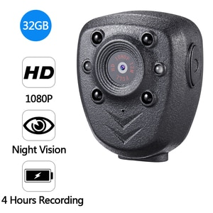 HD 1080P Police Body Lapel Worn Video Camera DVR IR Night Vision LED Light Cam 4-hour Record Digital Mini DV Recorder Voice 32G