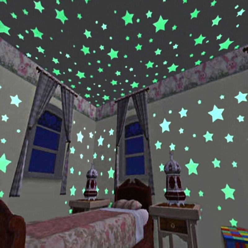 100PC Kids Bedroom Fluorescent Glow In The Dark Stars Glow Wall Stickers Stars Luminous luminous glow sticker color