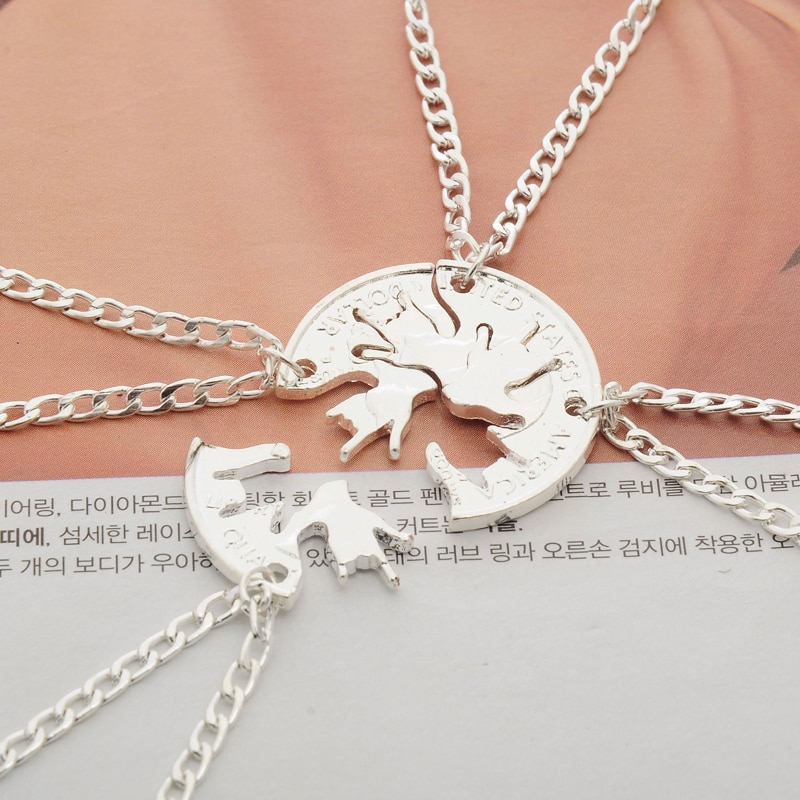 Ожерелье с подвеской в виде жестов рока, 4 шт./компл., для женщин и мужчин, творческие украшения для монет BFF, ожерелья лучших друзей