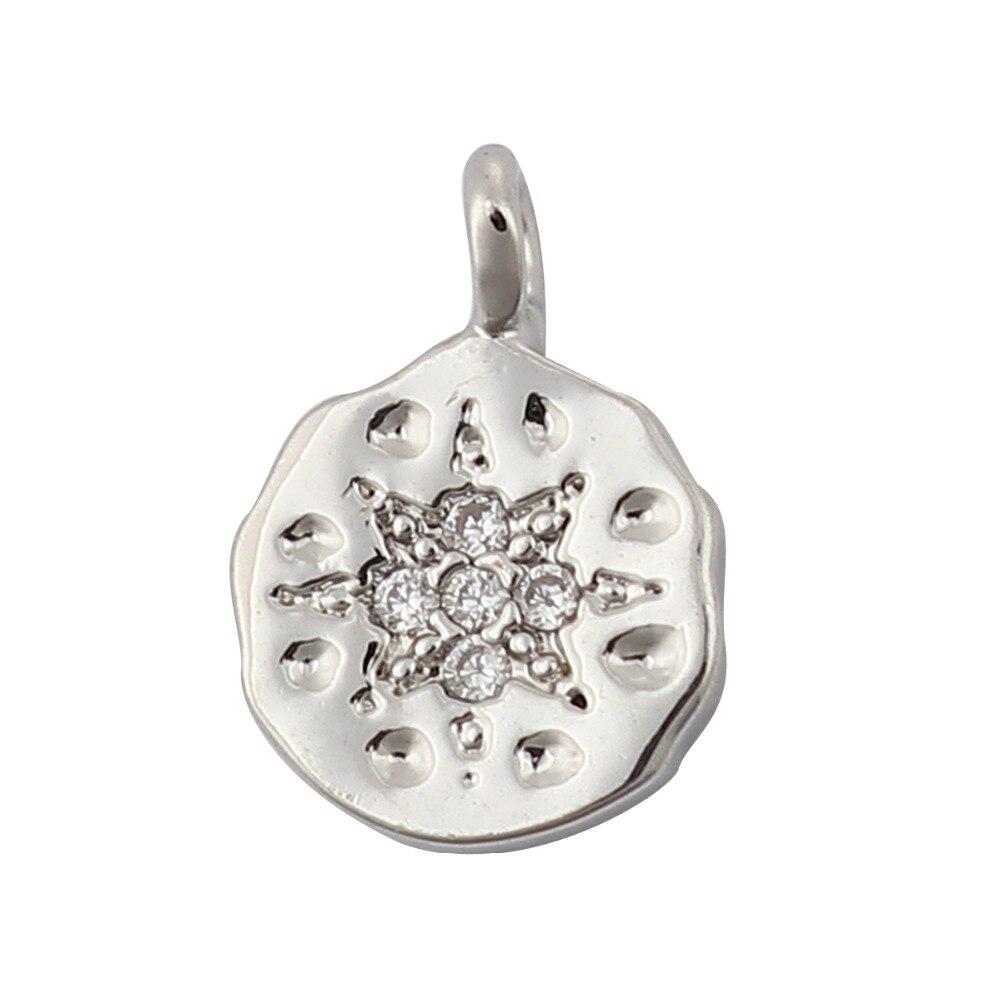 DoreenBeads, dijes de cobre, colgante para joyería DIY, hallazgos redondos rellenos de flores, diamantes de imitación transparentes, componentes hechos a mano, abalorio, 3 uds