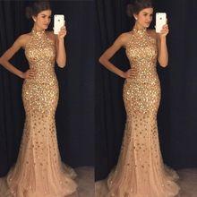 Luxury Gold Mermaid Prom Dresses 2020 vestidos de fiesta largos elegantes de gala Beaded Crystal Imported Party Dresss