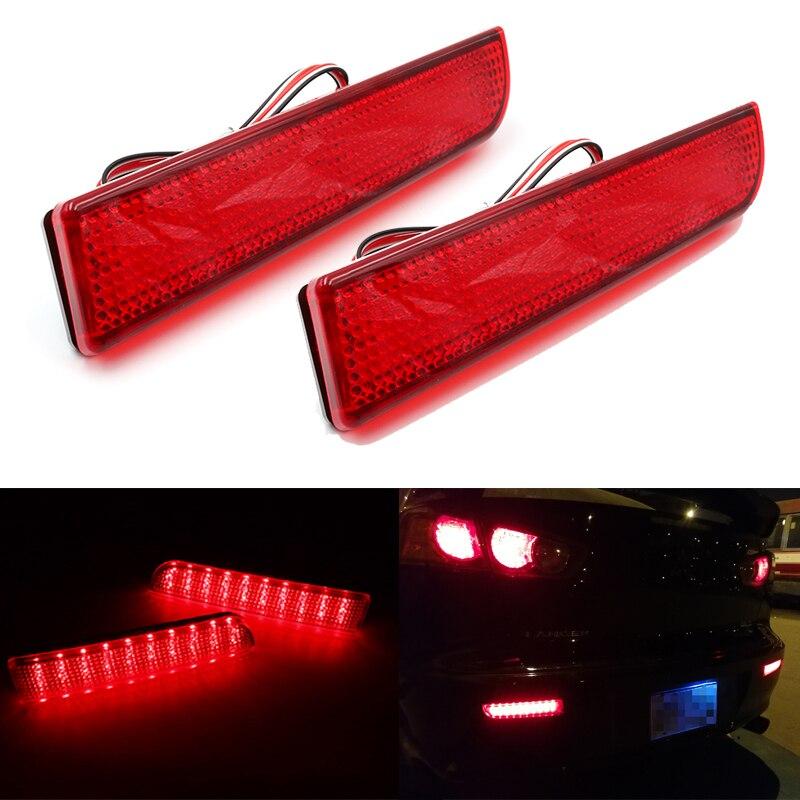Par LED Reflector de parachoques trasero luz roja freno de conducción de coche parada embellecedor de niebla moldura lámpara trasera para Mitsubishi Lancer Outlander
