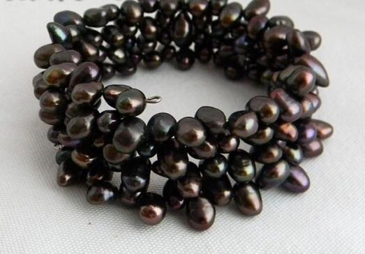 12738 4Strands Black Baroque Freshwater Pearl Bracelet