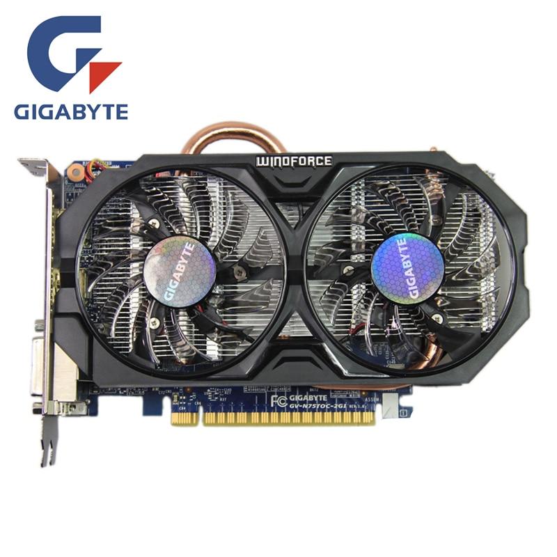 Tarjeta de vídeo GIGABYTE GTX 750Ti 2GB 128Bit GDDR5 tarjetas gráficas GV-N75TOC-2GI GTX 750 para tarjetas nVIDIA Geforce GTX750 Ti Hdmi Dvi