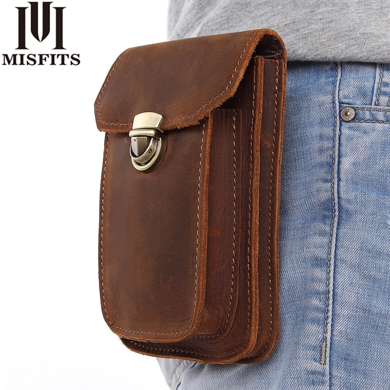 high quality genuine leather men hip bum belt purse fanny pack pouch mini cell mobile phone pocket cigarette case hook waist bag MISFITS 2019 NEW Genuine Leather Vintage Waist Packs Men Travel Fanny Pack Belt Loops Hip Bum Bag Waist Bag Mobile Phone Pouch