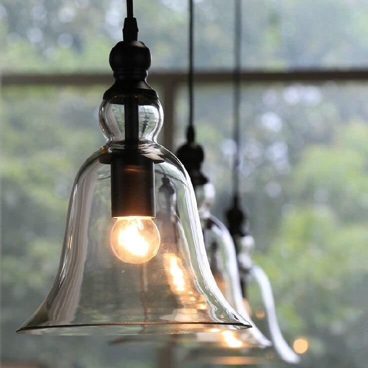lampada de teto industrial estilo retro de sino pingente de vidro lampada e27 quarto