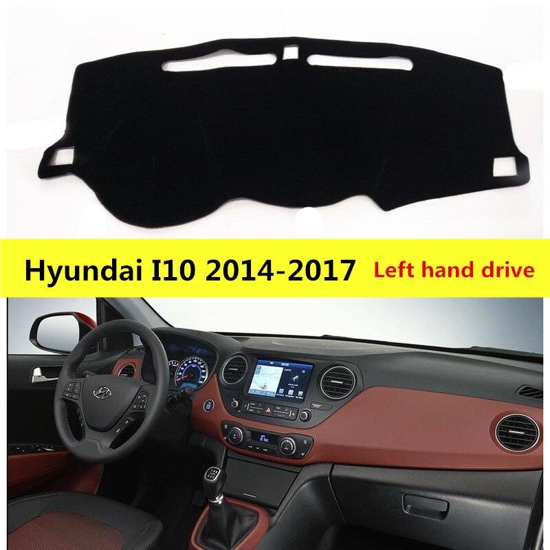 AIJS, cubierta izquierda para salpicadero de coche para Hyundai I10 2014-2017, alfombra protectora solar para salpicadero de coche para Hyundai I10 14-17