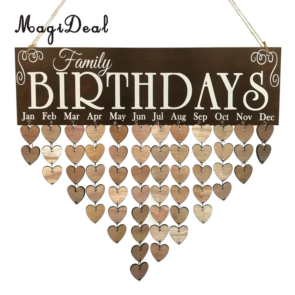 MagiDeal, familia, cumpleaños, calendario de recordatorios, tablero de madera, placa, letrero, decoración colgante