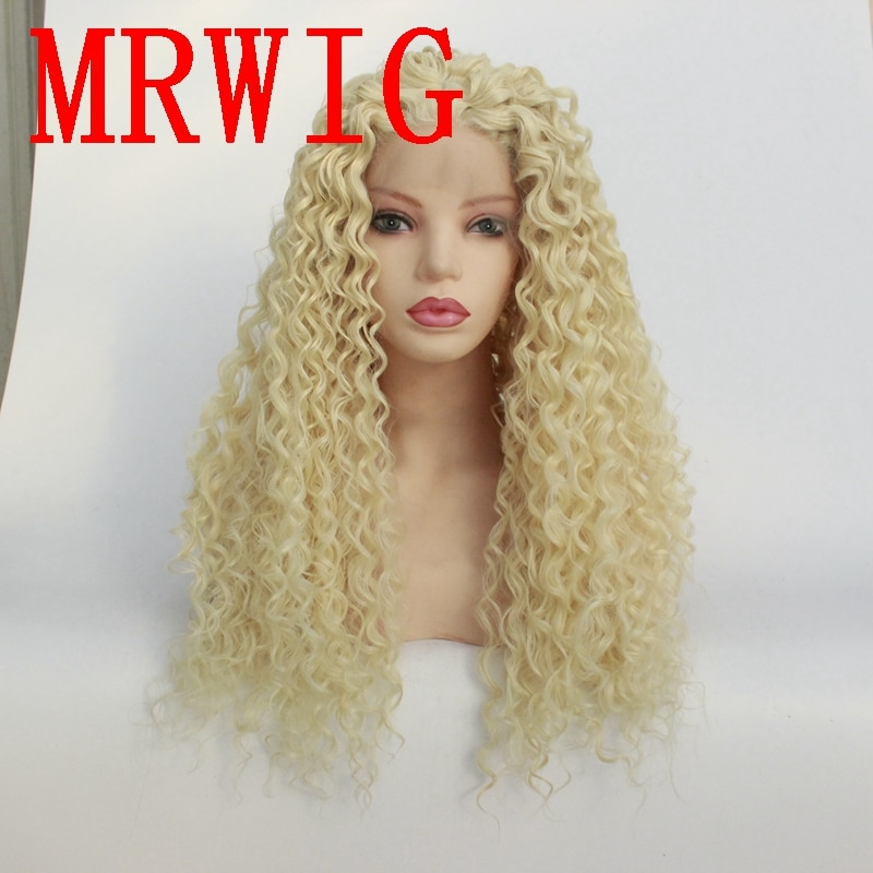 MRWIG #613 блонд средняя часть длинный кудрявый синтетический передний кружевной парик 26 дюймов Термостойкое волокно для женщин