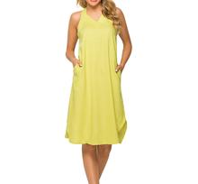 Vestido de una sola pieza 2019 a la moda de estilo medio-largo con bolsillo liso teñido amarillo sólido vestido de una pieza vestido sin mangas de verano para mujer