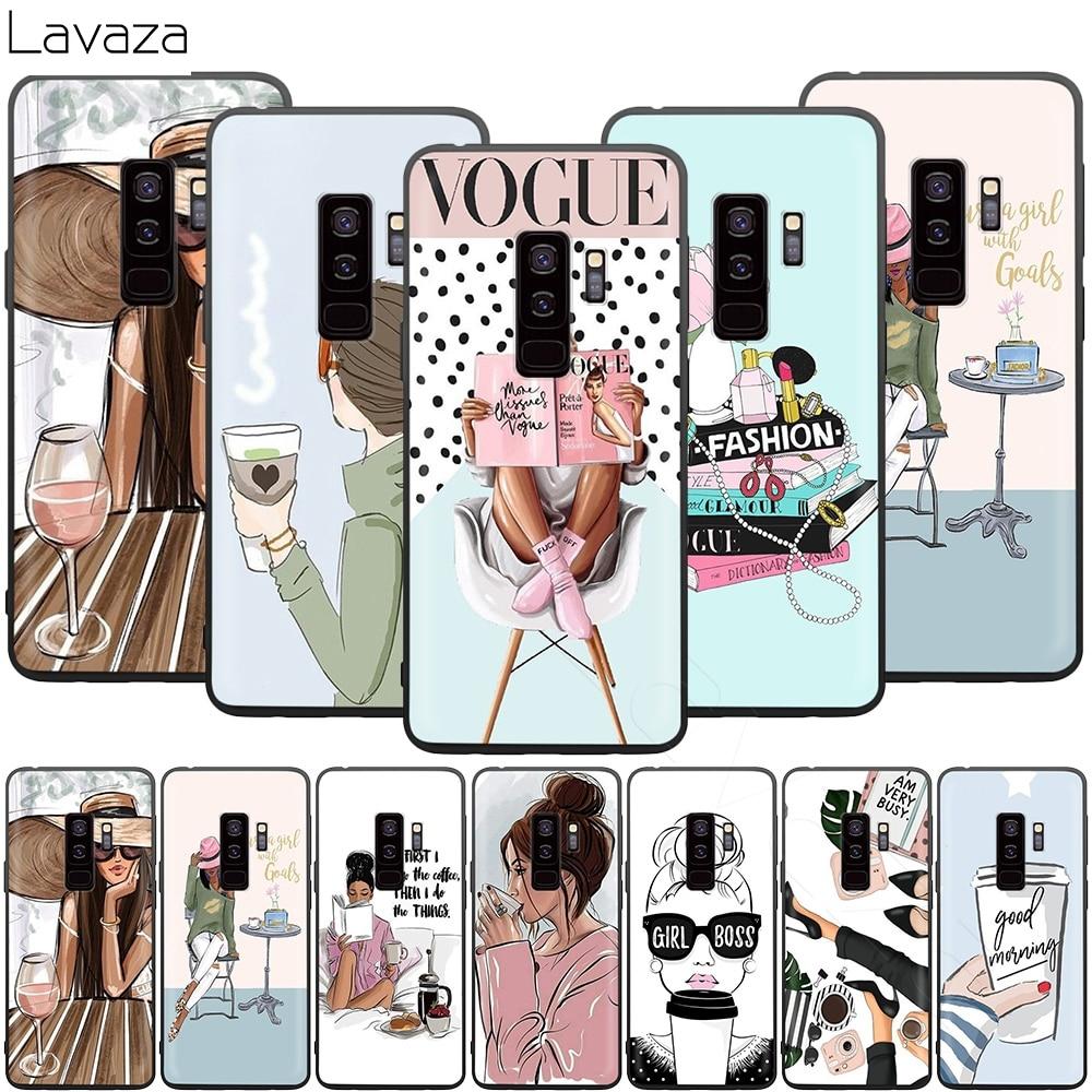 Lavaza moda niñas princesa mujer café funda para Samsung Galaxy S10 S9 S8 S7 S6 Plus Nota 9 8 M30 M20 M10 borde