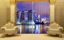 Gölge Kumaş Gece Şehir Lüks Karartma 3D Perdeler Perdeler Oturma odası Için Yatak odası Otel Ofis Perdeler Ev duvar halısı