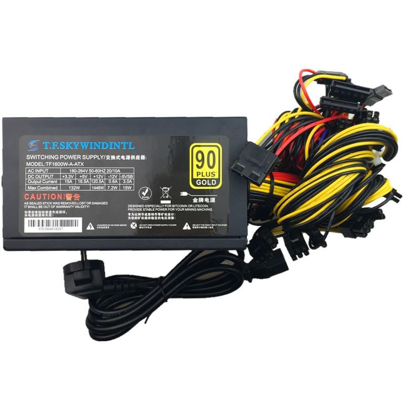 T.F.SKYWINDINTL 1600w 12v Power Supply Mining PSU 1600w Power Supply 6 GPU Graphics Card RX480 RX570 RX470 Eth Zcash Miner Power