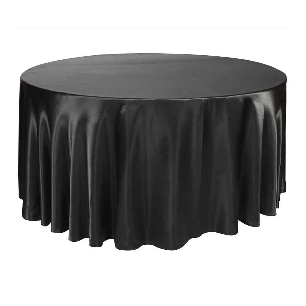 Mantel redondo de satén de 10 Uds 275 cm, mantel, mantel de poliéster, mantel a prueba de aceite, banquete en restaurante, hogar, negro y blanco