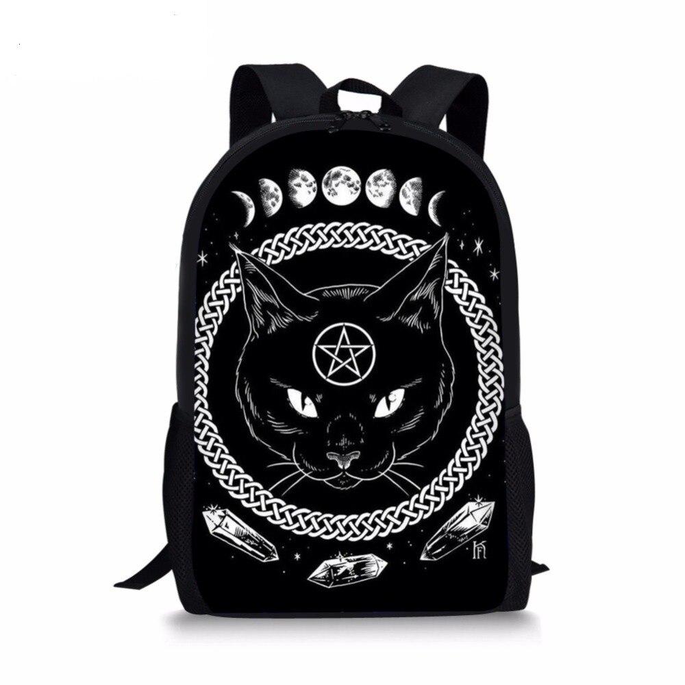 Gótico fase da lua mochilas para adolescentes meninos meninas a witching hora bruxaria gato preto sacos de escola crianças