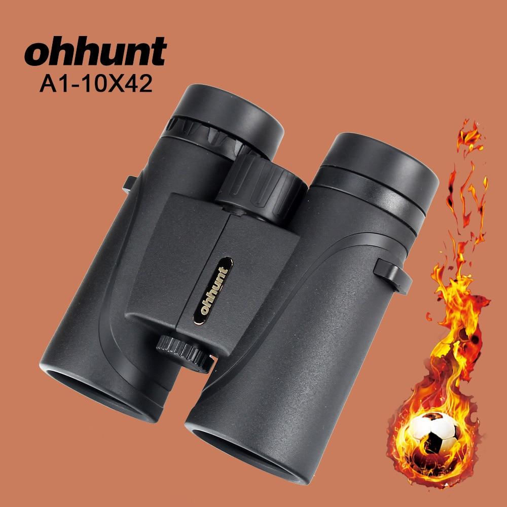 Ohhunt A1 10X42 Caza Antiempañamiento Prismáticos Tamaño Pequeño A Prueba de agua Camping Senderismo Binocular Telescopio Poderoso Rayo de Óptica