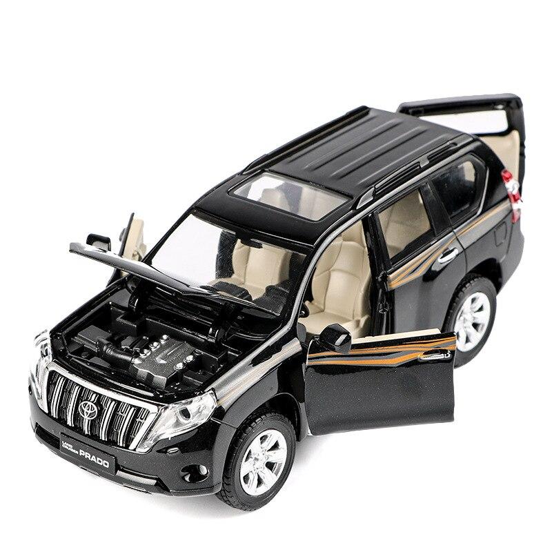Modelo de liga de alta qualidade 132 Toyota Prado, das crianças de simulação de som e luz puxar para trás modelo off-road brinquedos, frete grátis