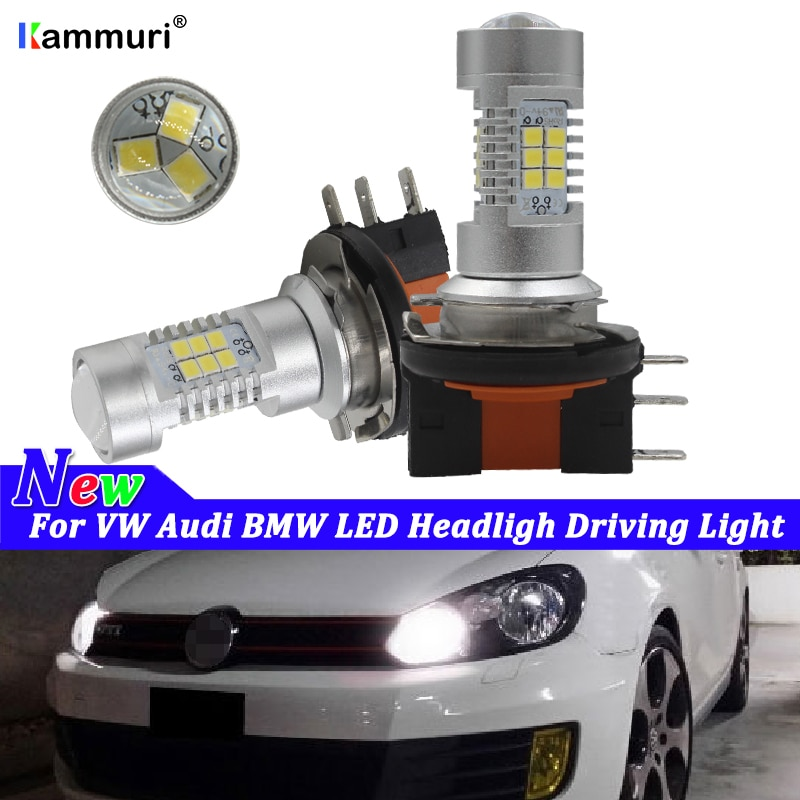 HID blanco coche H15 bombilla LED faro de coche inalámbrico lámpara 12V conversión conducción luz para VW Golf GTi Audi A5 A6 Q7 BMW