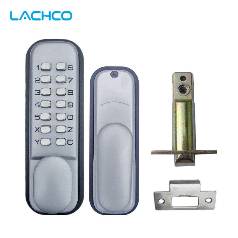 LACHCO-قفل باب ميكانيكي بلوحة مفاتيح رقمية ، قفل دخول بكلمة مرور ، فولاذ مقاوم للصدأ ، قفل سبائك الزنك فضي L17004