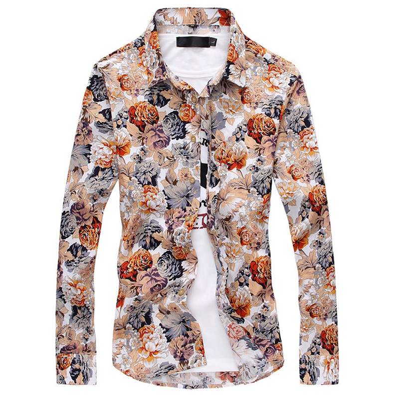 Nuevas camisas de manga larga de hombre de moda tops de flores de selección de varios colores camisa Casual de Hombre talla asiática S M L XL, XXL, XXXL