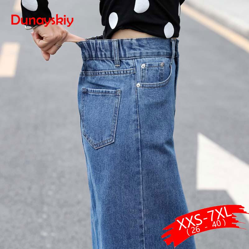 Women Denim Skirts Plus Size Front Split Office Lady Straight 5Xl 7Xl Spring Summer Long Light Blue Skirts Mid-Calf  Lady