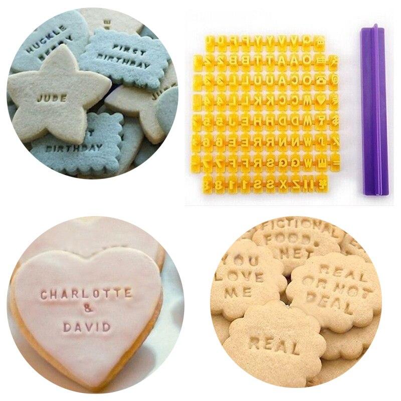 Alfabeto letra número galleta prensa estampadora de estampillas cortador Fondant molde para hornear pasteles moldes herramientas