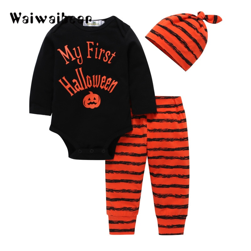 Newborn Baby Halloween Sets Clothes Letter Rompers +Pumpkin Pants+Hat Infant 3pcs Suit Clothing For Boys And Girls