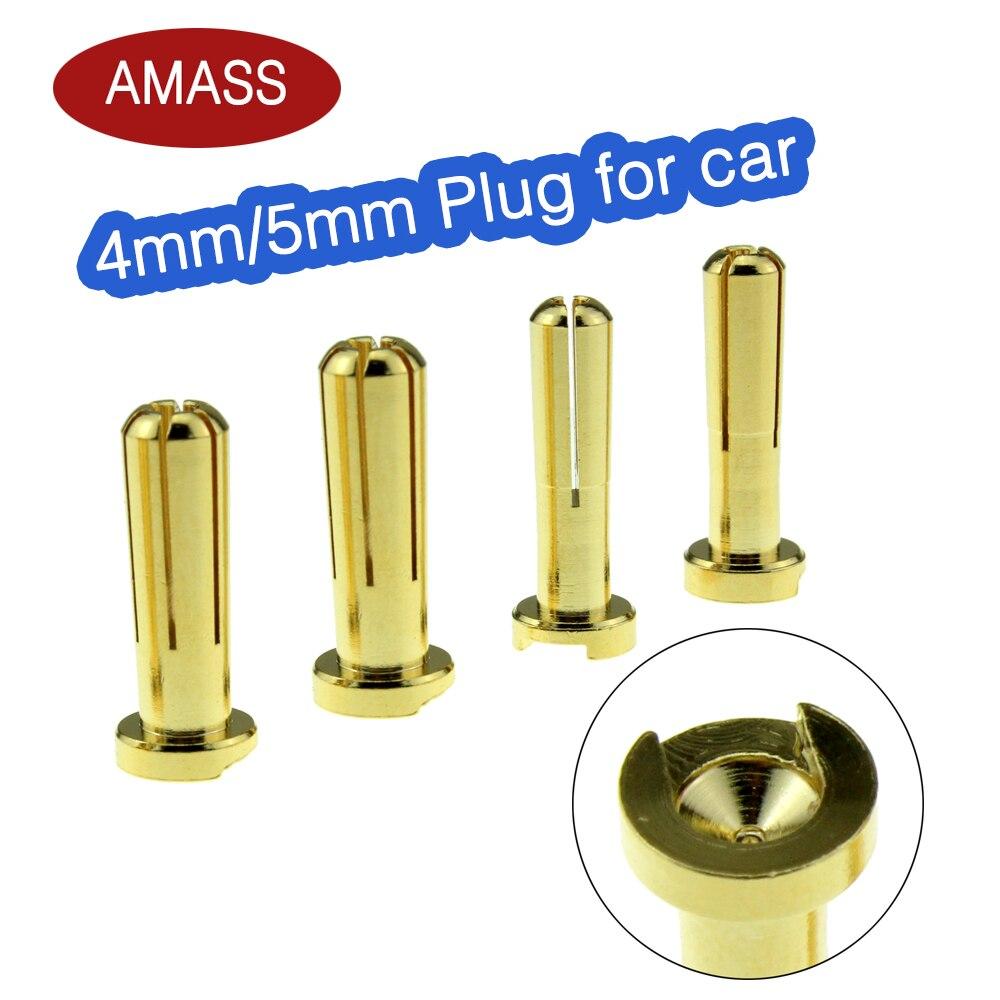 Высококачественная продукция Amass, разъем типа «банан» для радиоуправляемого двигателя, с золотым покрытием, 10 шт., 4 мм, 5 мм