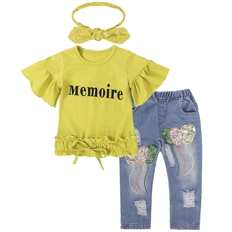 Летние комплекты одежды для маленьких девочек с блестками и цветами; Желтая футболка для малышей; Джинсовые штаны; Одежда для детей; Спортив...
