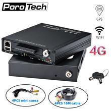 Sistema kit DVR Carro 4CH HDVR9804 AHD DVR Móvel com 4 4 mini câmeras suporte GPS WIFI G-Sensor G Ônibus Carro DVR Veículo