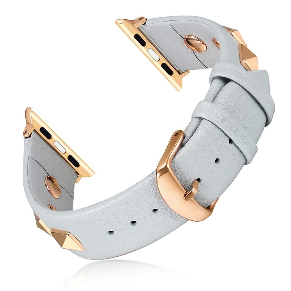 AliExpress - New Design Rivet Style Watchband for Apple Watch Band Series 6 SE 5 4 3 2 Bracelet Men/Women Leather Strap 40mm 44mm 38mm 42mm