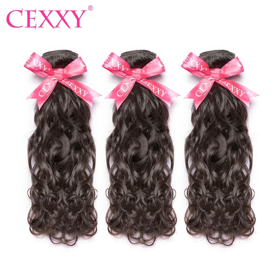 CEXXY, cabello virgen malayo, ONDA DE AGUA, 3 mechones/lote, extensiones de cabello humano mechones de Color Natural, envío gratis, mechones doble dibujado