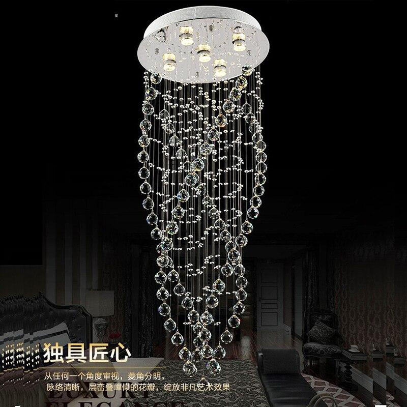 ¡Oferta! candelabros modernos de cristal K9, lámpara led para sala de estar y escaleras
