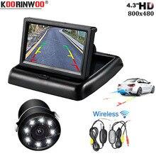 "Koorinwoo HD Universal Car-styling Wireless 4.3"" LCD Foldable Screen Car Monitor Rear View Camera for Backup Parking LED lights"
